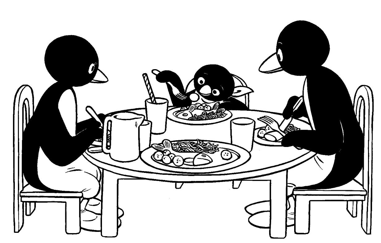 Worksheet. Juegos de Colorea a Pingu y Familia